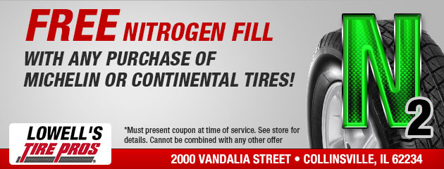 FREE Nitrogen Fill with Any Purchase of Michelin or Continental Tires