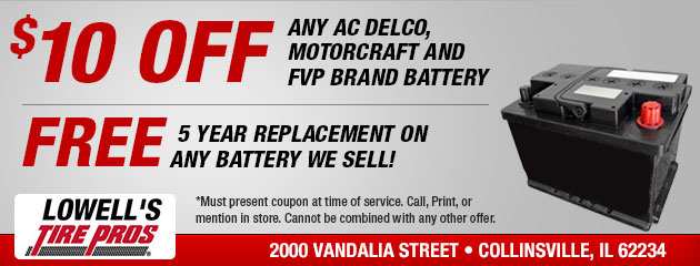 $10 OFF any AC Delco, Motocraft and FVP Brand Battery